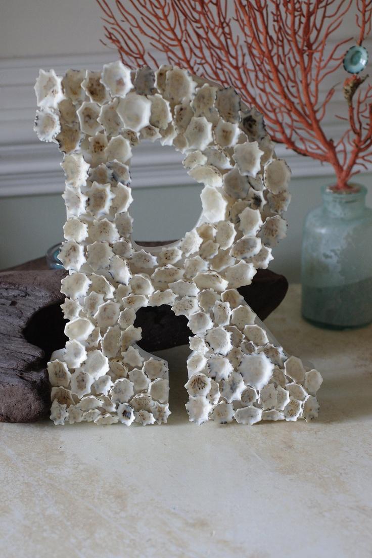 Beach Cottage Seashell Decor White Star Limpet Shell Letter/Initial. $58.00, via Etsy.