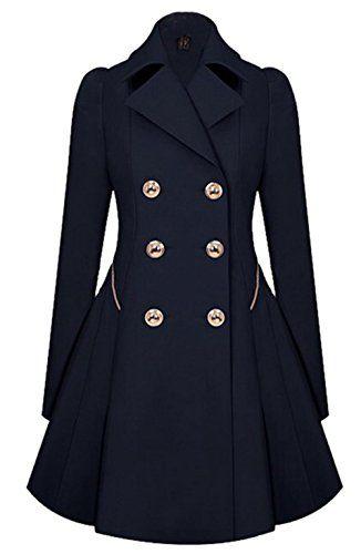 Bestfort Mantel Damen Elegant Wintermantel Warm Gefüttert V-Ausschnitt  Lange Ärmel Wollmantel Übergangsmantel Zweireihig Herbst Winter efe66a7bda