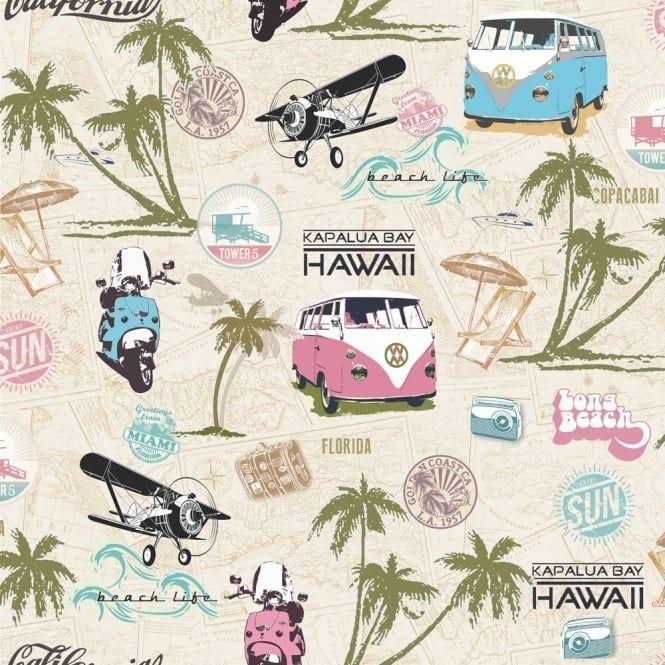 Muriva Miami Beach Wallpaper Multicoloured (102535) - Wallpaper from I love…