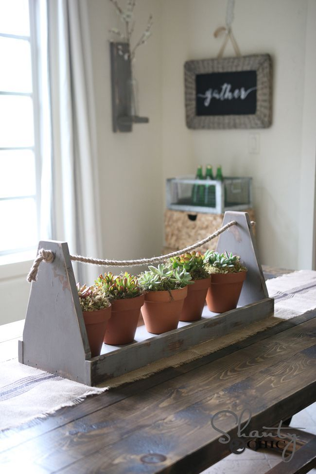 DIY Woodworking Ideas Centerpiece Box with Succulents