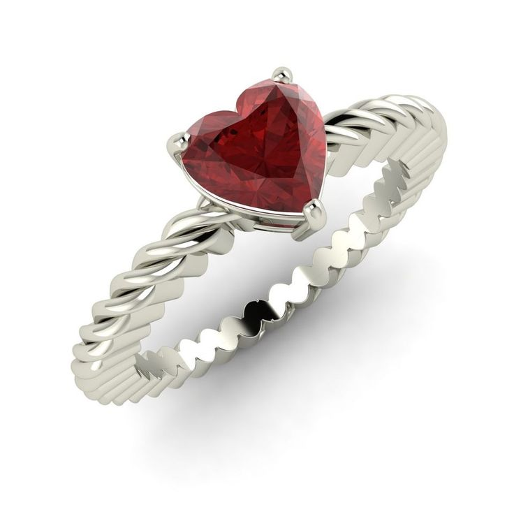 Valentine Day Special Gift For Her 14K White Gold Heart Cut Natural Garnet  Ring
