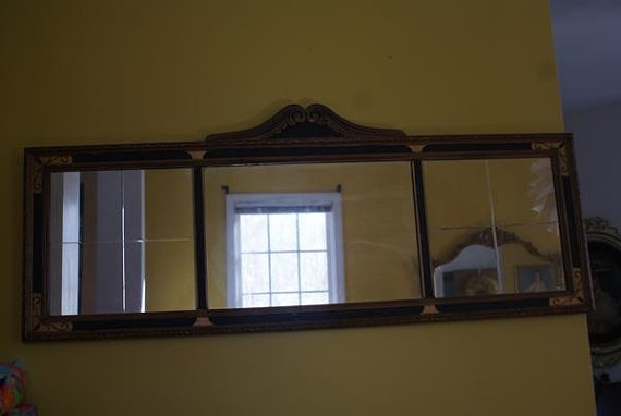 Antique 1920s Art Deco Wooden Frame Hangs Horizontal