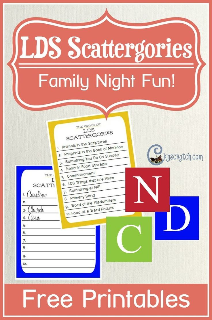 Play LDS Scattergories at your next Family Home Evening or LDS activity