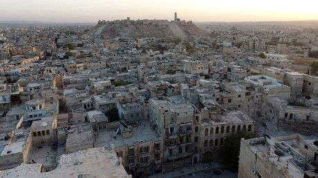 A general view taken with a drone shows Aleppo's historic citadel, controlled by forces loyal to Syria's President Bashar al-Assad, as seen from a rebel-held area of Aleppo, Syria, October 12, 2016. © Abdalrhman Ismail