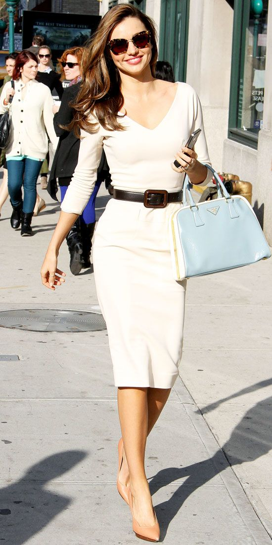 Kerr hit the pavement in New York wearing a belted Victoria Beckham dress that she paired with a colorblock Prada tote and pointy-toe pumps.