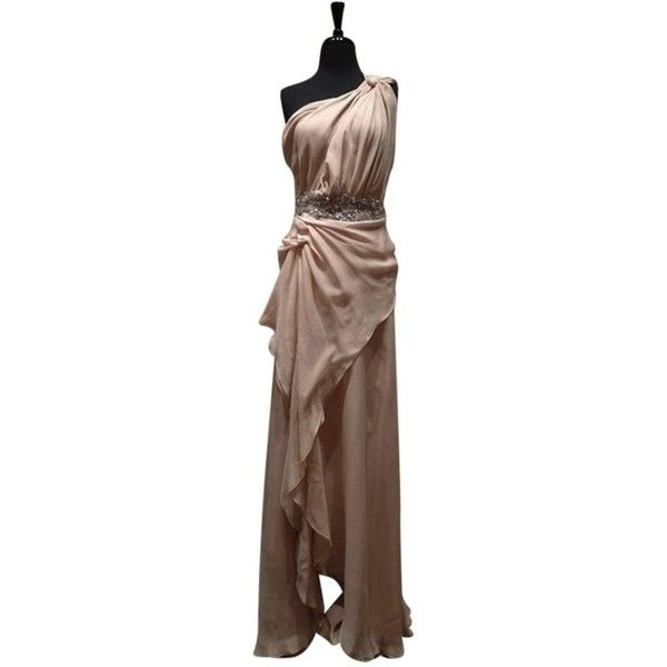 Pre-owned Jenny Packham Nude Grecian One Jeweled Silk Gown Dress ($3,250) ❤ liked on Polyvore featuring dresses, gowns, nude, cocktail dresses, silk gown, brown evening dress, holiday dresses and evening dresses