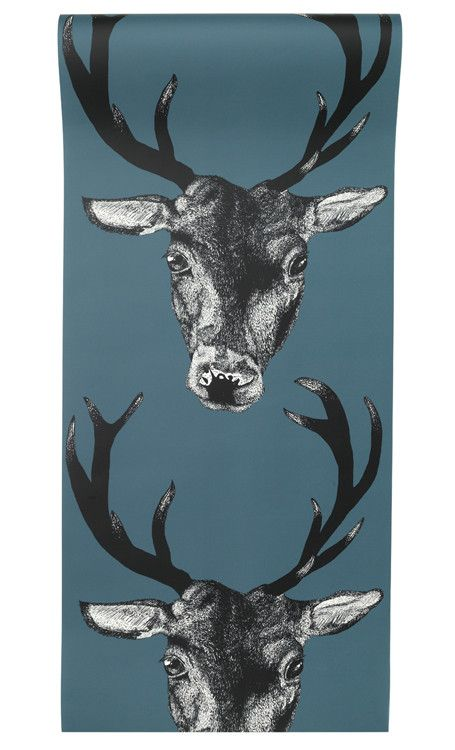 Stag Wallpaper Teal from Graduate Collection