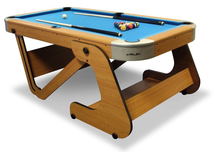 The Riley Folding 6ft 6in pool table is a large family table with an MDF playing surface, featuring a practical vertical folding leg system for easy storage.