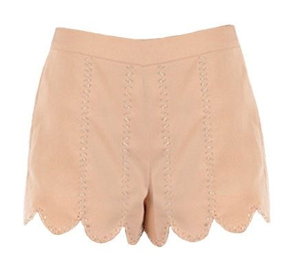 Embellished Peach Shorts: Features a solid peach foundation with vertical trails of miniature beads to the front, pocket-free backside, expert seam detailing throughout, and a hidden side zip closure to finish.