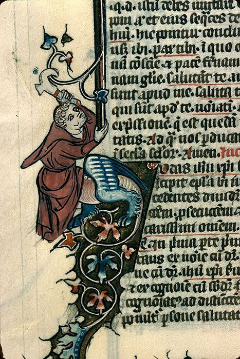 Monk-hybrid pulling himself up out of a letter using a harvesting tool  (Reims BM 177).