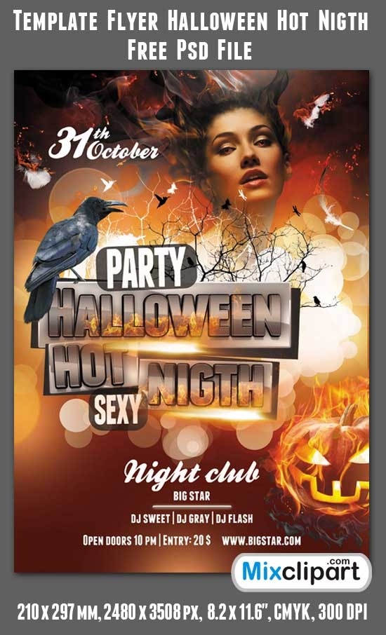 Template Flyer Halloween Hot Nigth Free Psd File Free