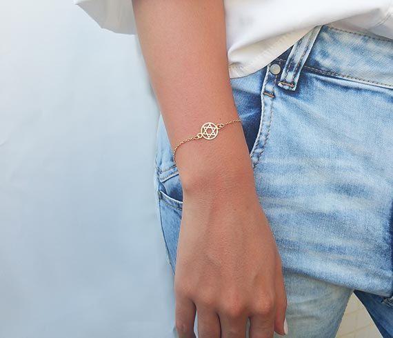 Gold Star of David Bracelet Jewish jewelry Gold Bracelet