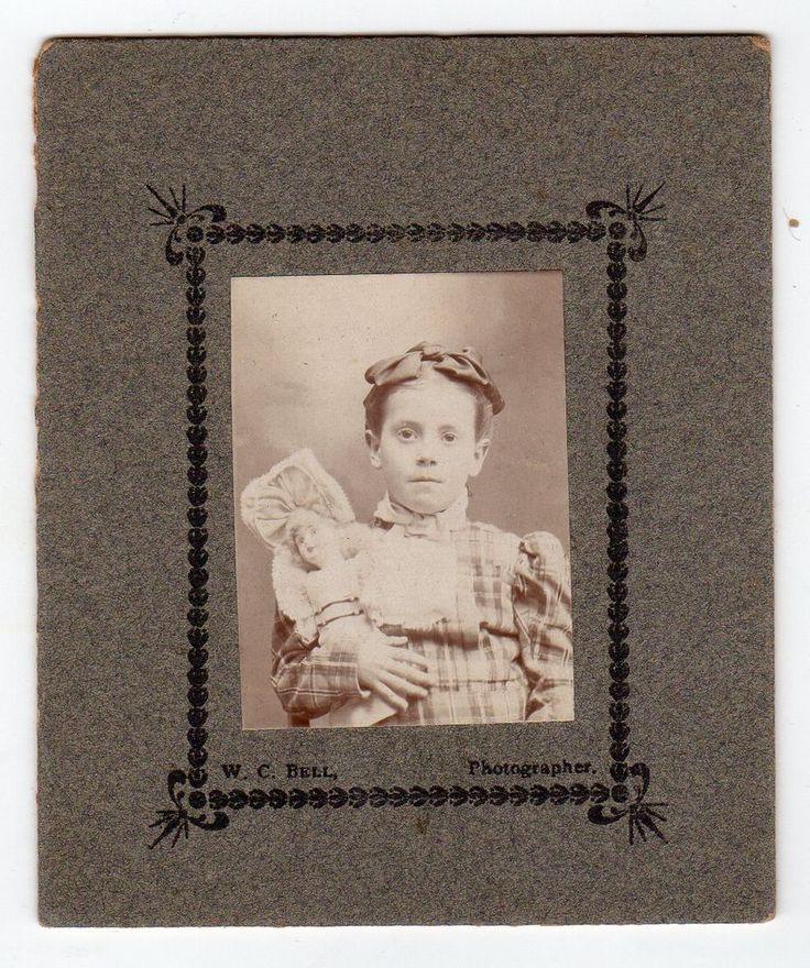 Little Girl & her Porcelain Doll Antique Photo by W. C. Bell York Pennsylvania