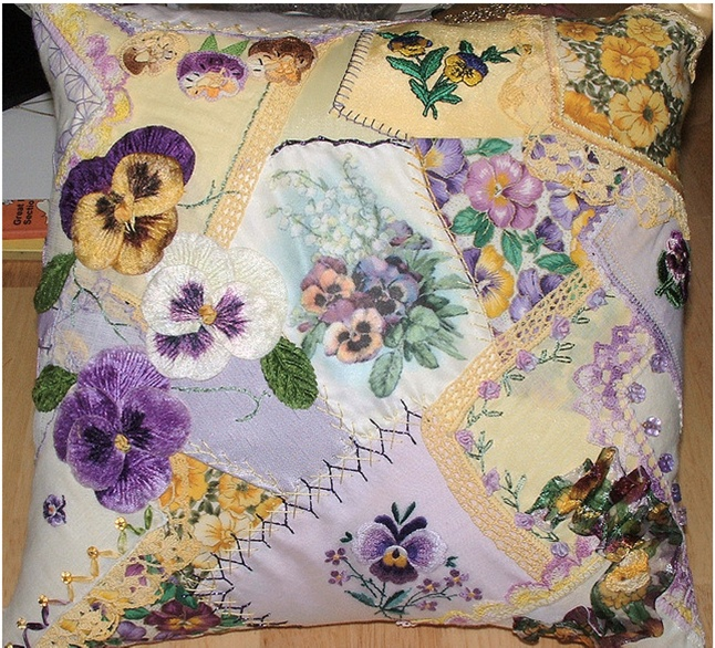 hankie crazy quilt pillow