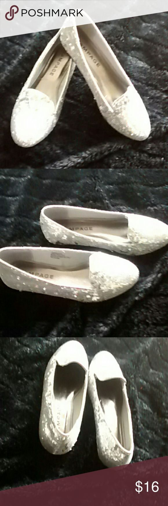 Rampage Silver Shoes Rampage silver sparkle shoe's. In excellent condition worn once no sign of wear at all. Size 71/2.  Any questions please feel free to ask. Happy Poshing! Rampage Shoes Flats & Loafers
