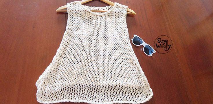 Aprende a tejer un top fresco, fácil y rápido de tejer, para llevar sobre el bikini o una camiseta, en los días más calurosos: apto para principiantes de las dos agujas