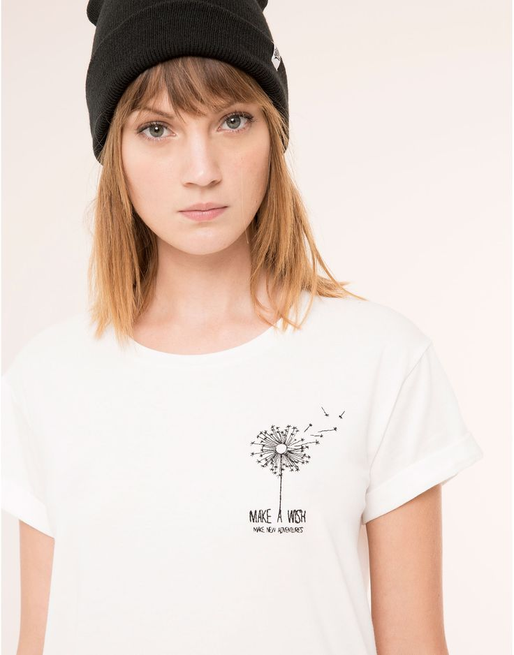 WHITE T-SHIRT EMBROIDERED DETAIL - T-SHIRTS & TOPS - WOMAN - PULL&BEAR Albania