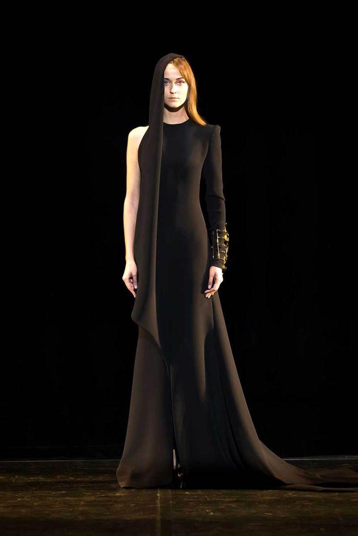 Toga dress in black crepe