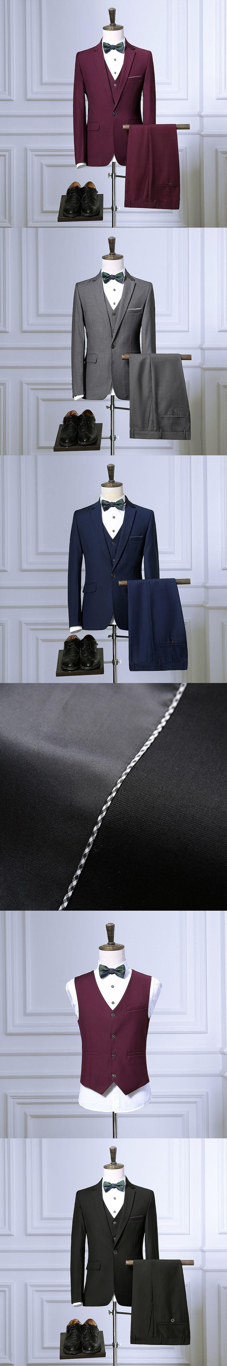 Men Slim fit suits Jacket+Pants+vest Tuxedo wedding coat trousers waistcoat design 2016 Fashion black blue red 4color Male Suits