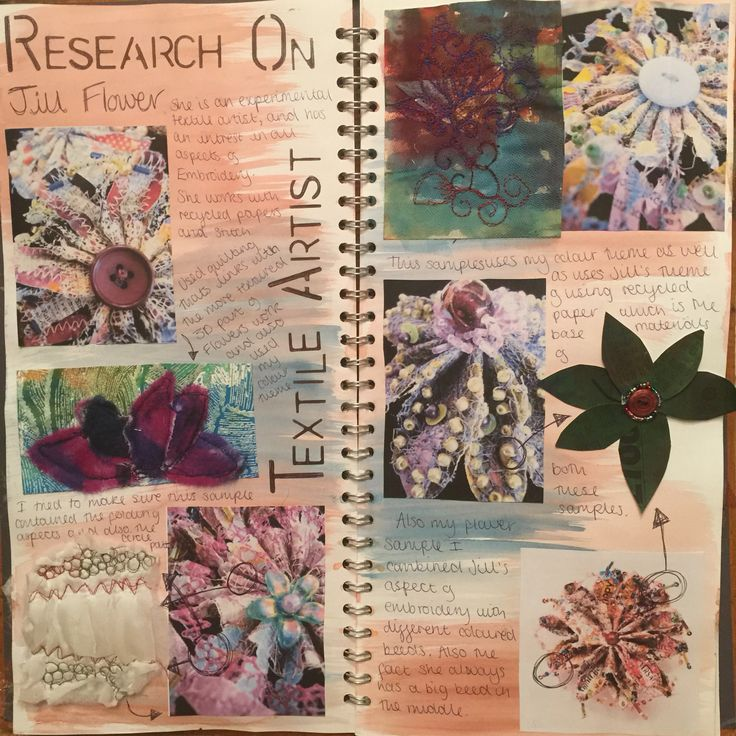 Research page into textile artist Jill flower. Victoria.