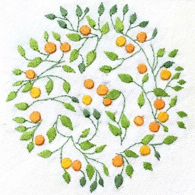 No pattern embroidery: Patricia Van Ness; Vines and Fruit #226