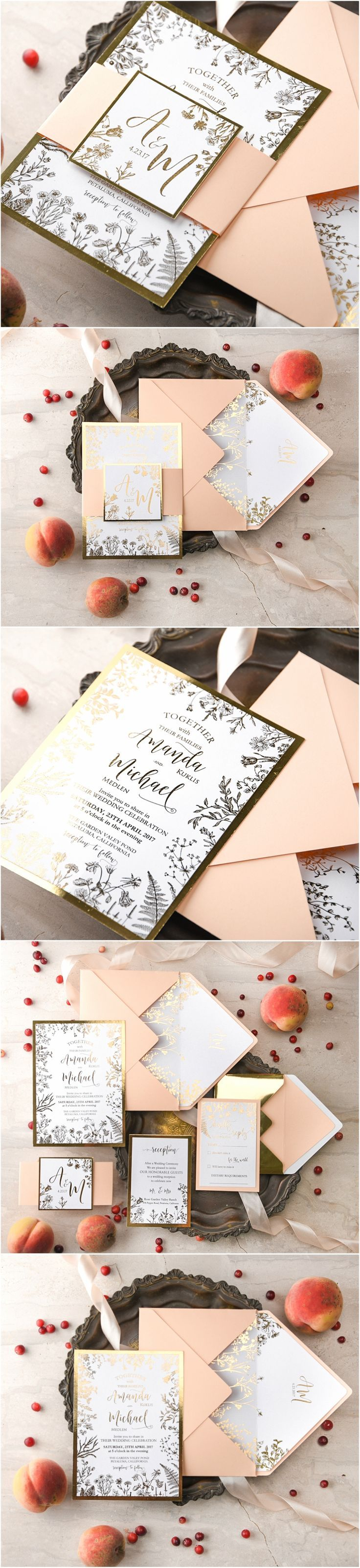 Peach & Gold Wedding Invitations #gold #peach #weddinginvitations #goldfoil #glitter #elegat #glamorous