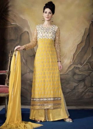Sunlight Yellow Poly Georgette Pakistani Suit http://www.angelnx.com/Salwar-Kameez/Pakistani-Suits
