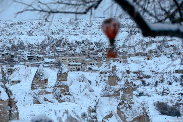 Fairy chimneys are seen after heavy snow in Cappadocia, Turkey ...