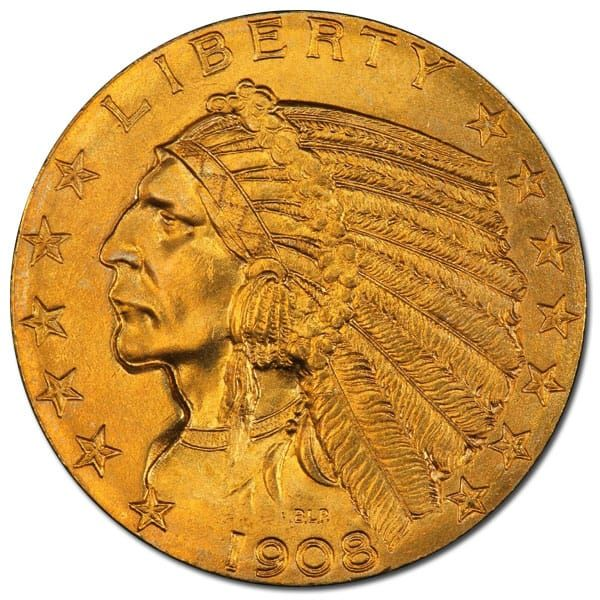 5 Indian Head 1908 1916 1929 0 2419 Troy Ounce Gold Content Gold And Silver Coins Coins Gold Coins