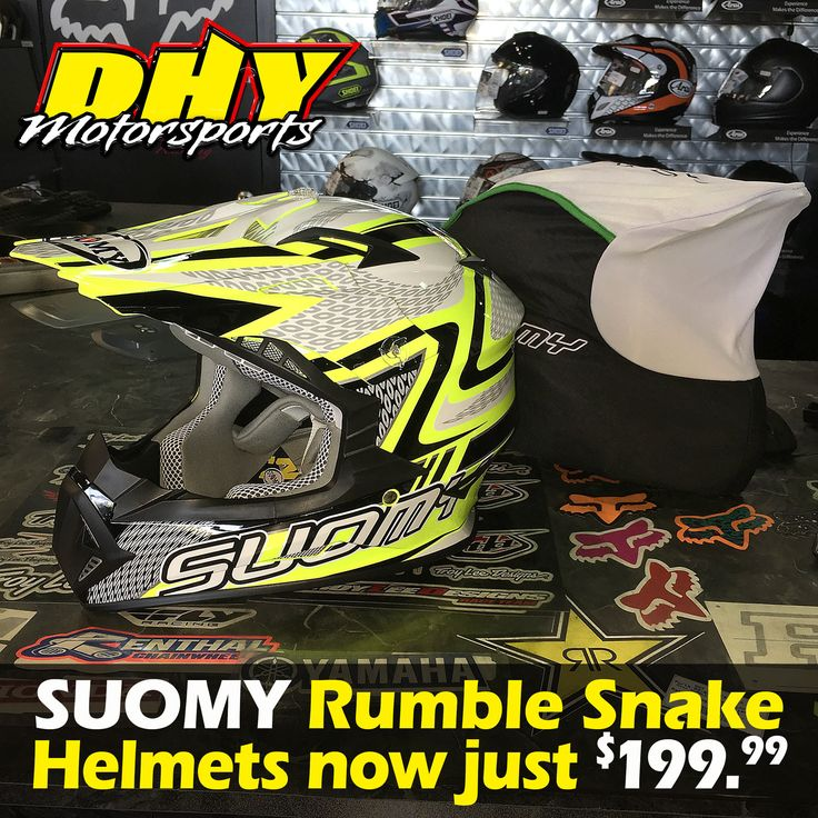 Fresh SUOMY Helmets #RumbleSnake #MX helmets at #DHYMotorsports at a new price point, just $199.99. #Largestselectionofhelmetsinthearea