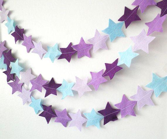 Étoiles Garland ressenti en violet et bleu  par HandmadeCuddlesShop