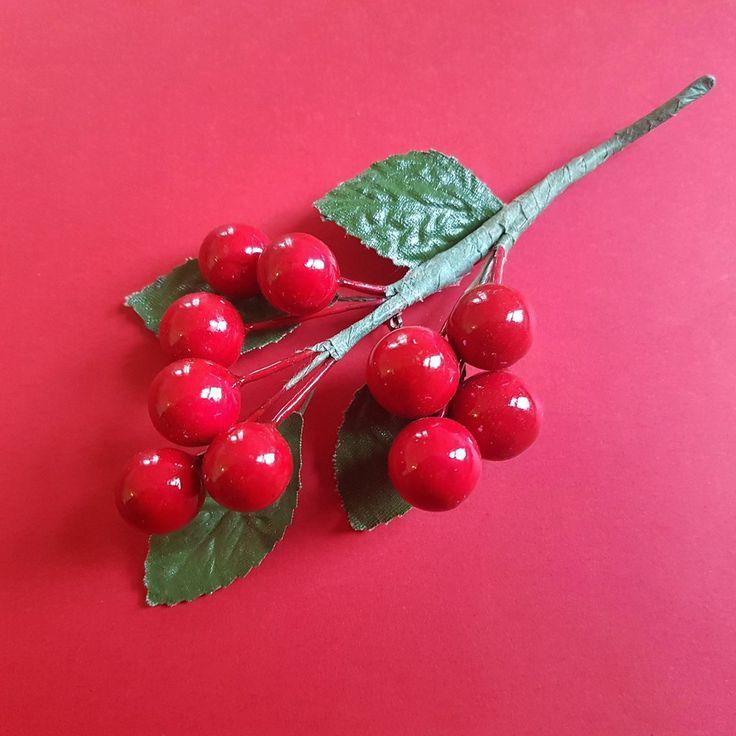 Cherry fruit spray vintage brooch