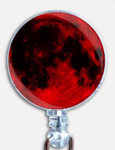 Custom Blood Moon Badge Reel Seen From Planet Earth Retractable ID Name Holder #Handmade