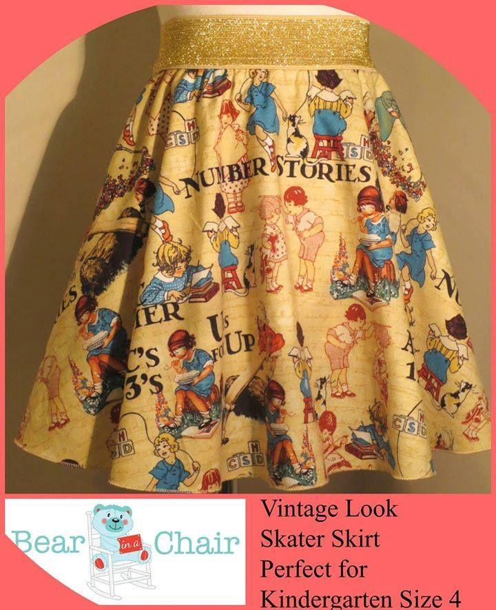Handmade By Bear In A Chair  Vintage Look Skater Skirt