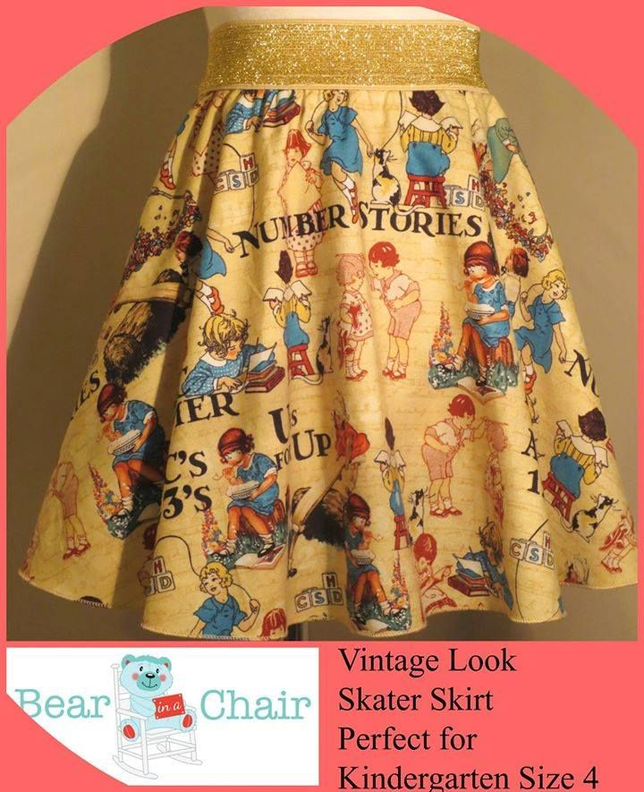 Handmade By Bear In A Chair  Vintage Look Skater Skirt