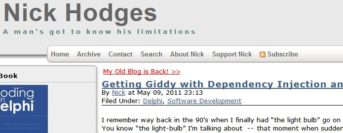 Getting Giddy with Dependency Injection and Delphi Spring #1: when I started doing Dependency Injection with the Delphi Spring Framework.  It really came to a head when I realized that I can create useful and powerful units that have no code in their interface sections.  | Nick Hodges