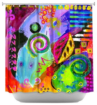 Crazy Abstract 1 Shower Curtain - contemporary - Shower Curtains - DiaNoche Designs
