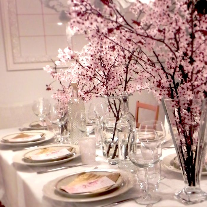 peach flowers - dinner with friends