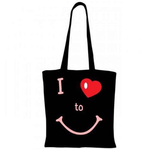 """Sacosa I love to smile    Sacosa de cumparaturi din bumbac 100%, cu mesajul """"I love to smile"""" care va aduce cu siguranta un zambet pe fetele celor care o privesc. In plus, mesajul este completat de o inimioara.   Dimensiune: 38 x 42 cm"""