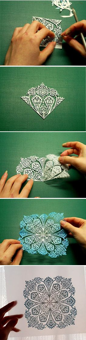 Water nocturne. Kirigami art ( Cut paper ) by Syandery