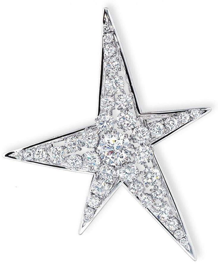 Chanel - A diamond 'comète' brooch - Designed as a star, centering upon a brilliant-cut diamond weighing 3.03 carats, within a series of graduated brilliant-cut diamonds, mounted in platinum and 18k white gold, (with fitting for pearl necklace), 7.5 cm long, with French assay marks for platinum and gold.