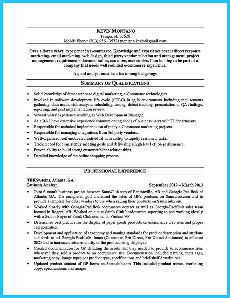 928 best business ideas images on Pinterest Business ideas - business analyst resume sample