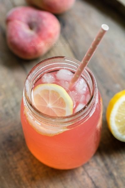 "A very pretty, yummy-sounding sparkling Peach Lemonade: ""For 2 to 3 glasses= 3 peaches (flat white peaches here) juice of 2 lemons agave syrup (to be determined according to your taste) 30-40 cl water or sparkling""  Recipe translated from a French web page.  -KWA"