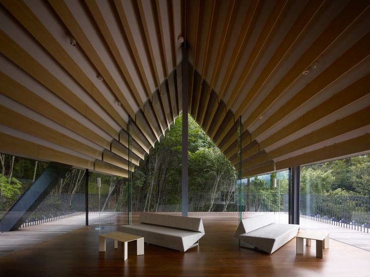 Built by Kengo Kuma & Associates in Komoro, Japan with date 2010. Images by Daici Ano. We wanted to place an architecture that is like a long stick. To be precise, a single, long, and 'free' roof in the f...