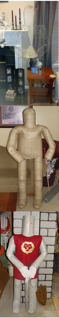 """Using chicken wire and wire cutters (and heavy gloves!) fabricate a human shape (or close to it); cover it with papier mache, let dry at least overnight and paint. Finish with felt tunic with iron-on, welder's gloves, simple wooden sword, and make the helmet from painted poster board. The eyes are a printout of a photo I found doing a search for """"eye images"""". Real eyes make them look creepy but cool."""