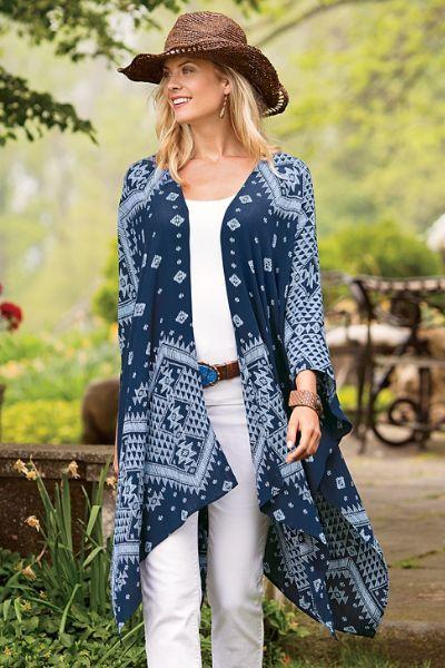 Mackenzie Cardi - Geometric Cardigan, Long Kimono Cardigan   Soft Surroundings