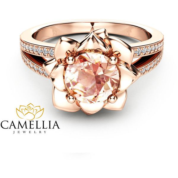 Morganite Flower Engagement Ring 14K Rose Gold Flower Engagement Ring... ❤ liked on Polyvore featuring jewelry, rings, flower engagement ring, peach rings, pink engagement rings, pink diamond ring and rose gold flower ring