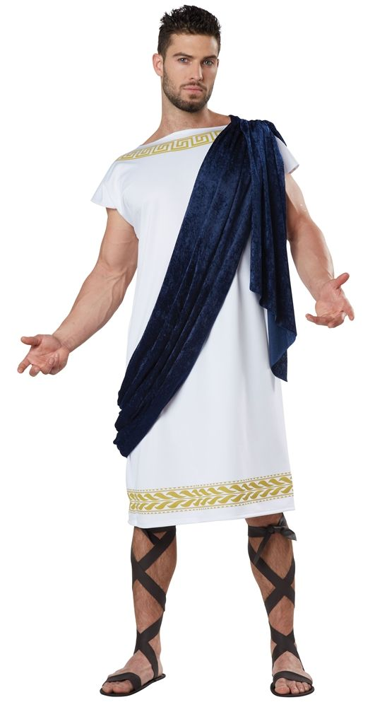 california costumes menu0027s grecian toga whitenavy large an easy to wear toga with some added flare the grecian toga costume comes with a tunic top with
