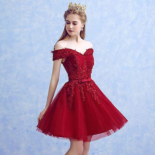 Corte en A Princesa Corta / Mini Tul Fiesta de Cóctel Reunión de Antiguos Alumnos Vestido con Apliques Lazo(s) por MYF 2017 - $69.99