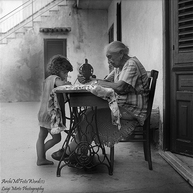"Italian Vintage Photographs ~ #Italy #Italian #vintage #photographs ~ Nonna ""Teaching"""